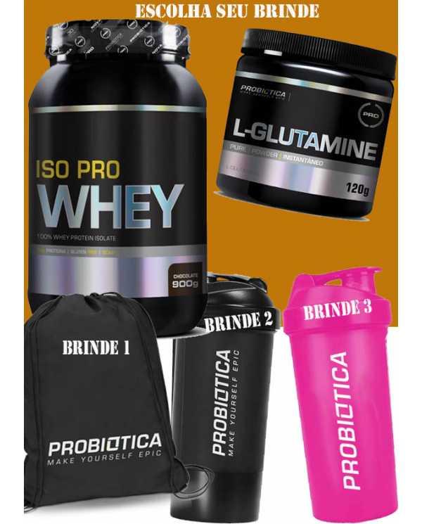 ISO PRO WHEY 900g(100% Isolado Probiótica) + Glutamina 120g + BRINDE(a sua escolha)