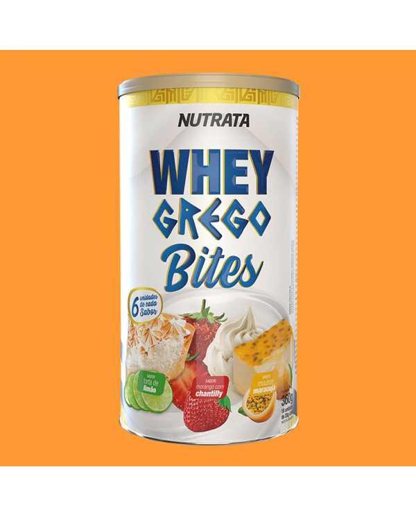 Whey Grego Bites Lata FRUTAS com 18 unidades
